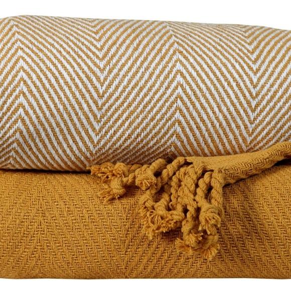 Other - Cotton All Season Throw Blanket Set of 2 - Yellow
